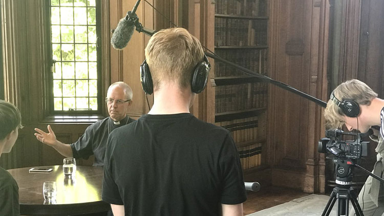 The Archbishop of Canterbury Justin Welby is interviewed and filmed at Lambeth Palace, London, by Creative Media students from The Manchester College